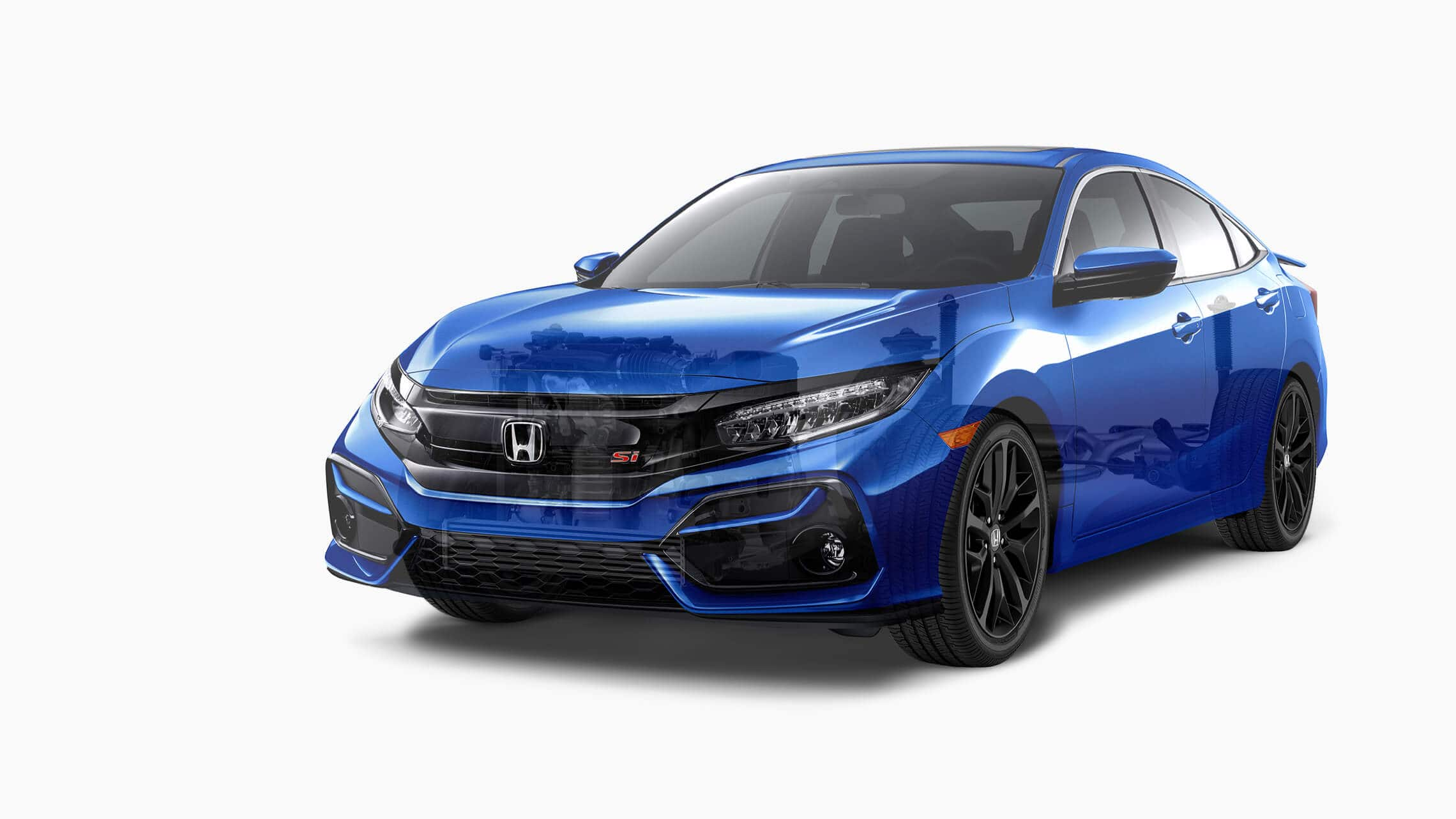 Front 7/8 driver's side view of 2020 Honda Civic Si Sedan in Aegean Blue Metallic displaying the powertrain and adaptive damper system detail.