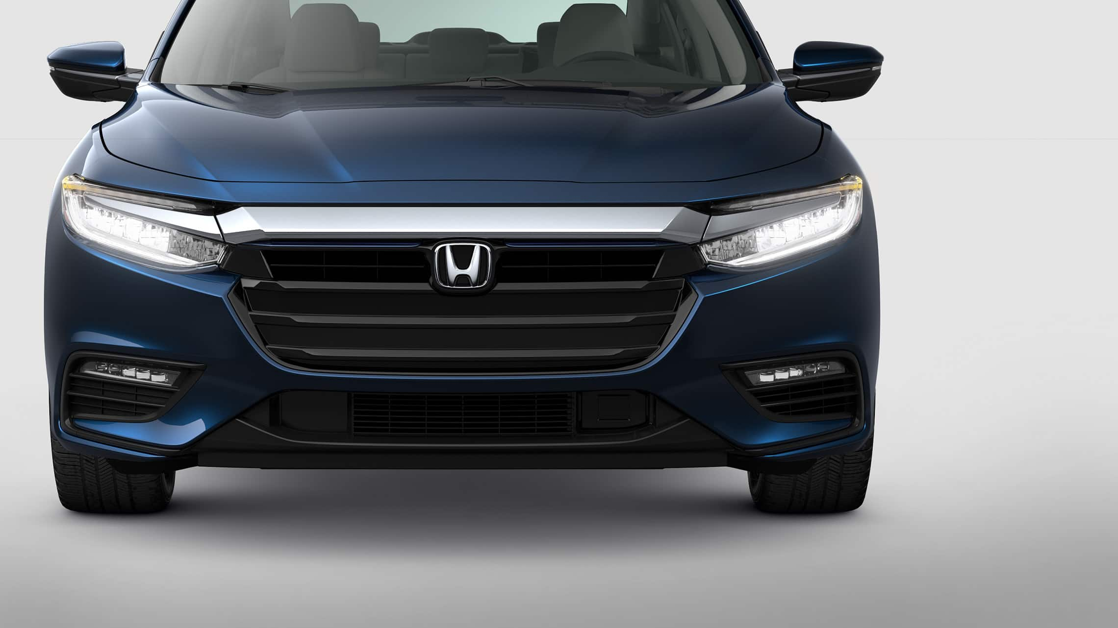 Front view of 2021 Honda Insight in Cosmic Blue Metallic.